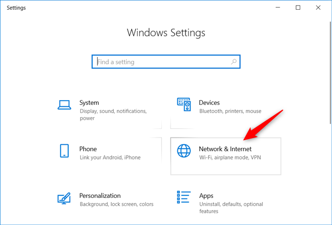 The Network & Internet category from the Windows 10 Settings