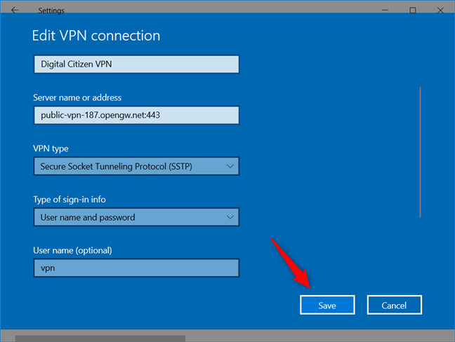 Add a VPN connection: Saving the VPN connection