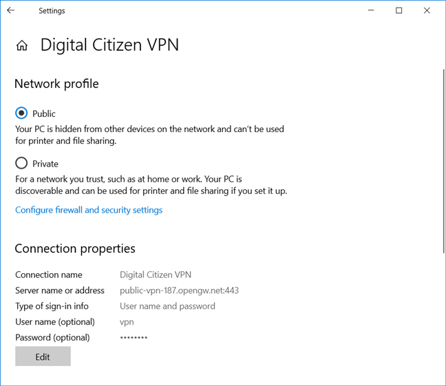 Editing a VPN connection in Windows 10