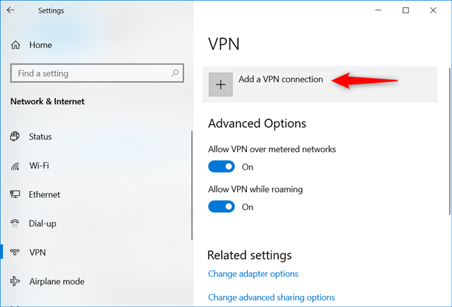 Choosing to Add a VPN connection