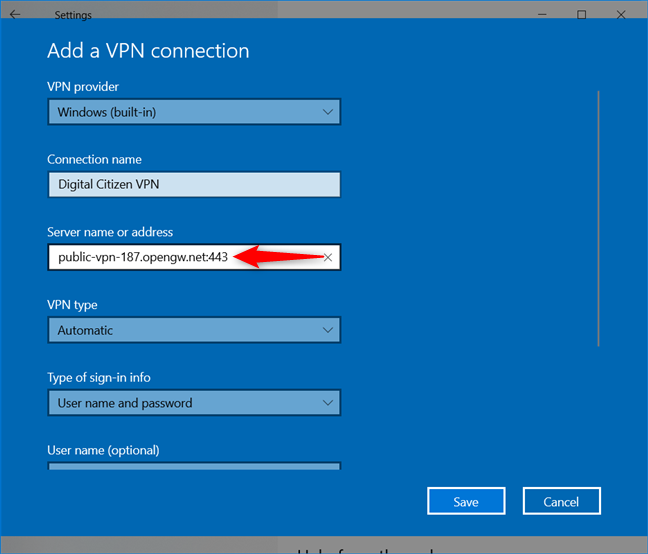 Add a VPN connection: Enter the Server name or address