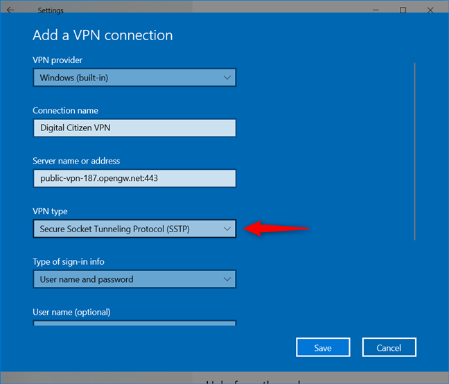 Add a VPN connection: Select the VPN type