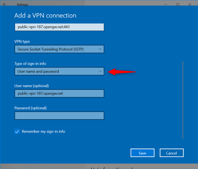 Add a VPN connection: Choosing how the VPN handles signing in