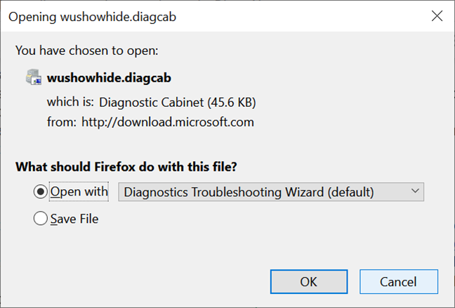 Save the file needed to show or hide updates in Windows 10