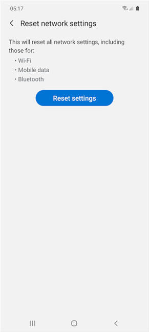 Tap Reset settings on Samsung Galaxy