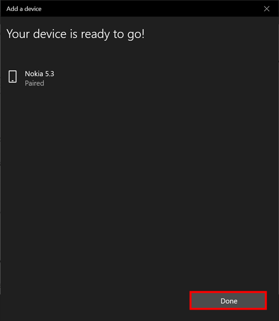 Your phone was successfully connected to your Windows 10 laptop or PC