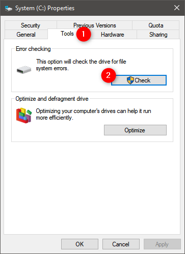 Start hard drive error checking in Windows 10