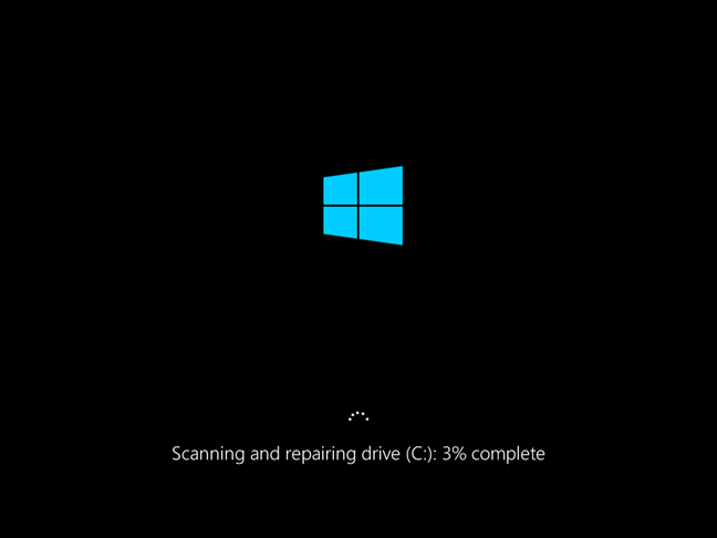 Progress in repairing in chkdsk