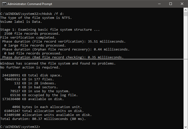 Running chkdsk /f command to verify a drive
