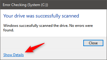 Successful scan of disk Error Checking in Windows 10