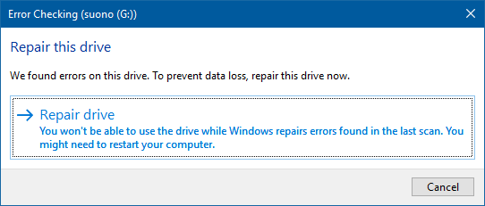 The Repair drive window in Error Checking in Windows 10