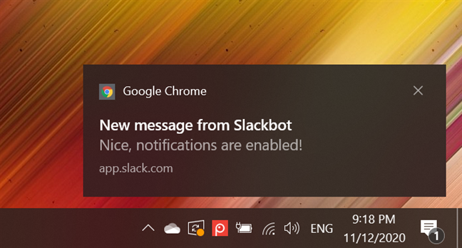 Google Chrome notifications in Windows 10 appear on the bottom right