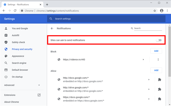 On Chrome, block notifications and prompts about them from bothering you