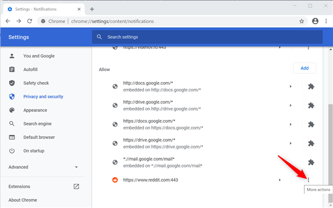 Press More actions to turn off Chrome notifications for Reddit