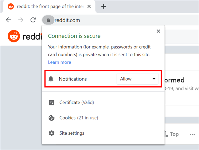 Press the field to change the Chrome notification settings