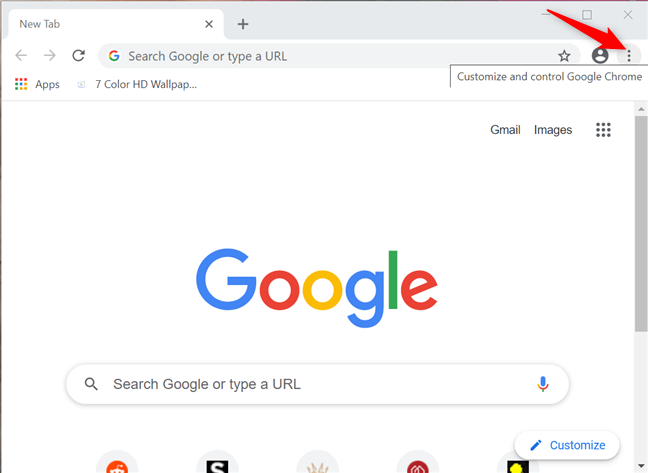 Press on Customize and control Google Chrome