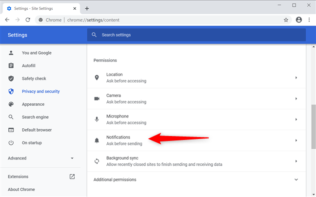 How to remove notifications from Chrome's Settings
