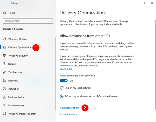 Access the Advanced Options for Delivery Optimization