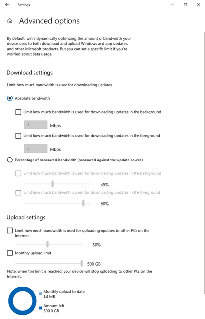 Advanced options for controlling the bandwidth used for Windows 10 updates
