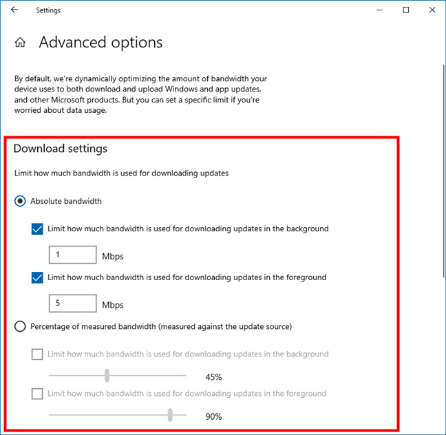 Bandwidth Windows 10: Windows Update download limits