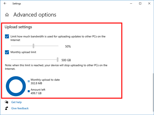 Bandwidth Windows 10: Windows Update upload limits