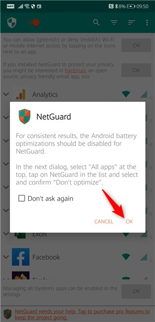 Android battery optimizations should be disabled for NetGuard