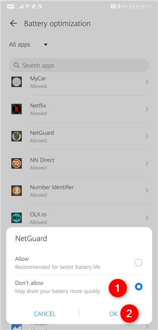 Don't allow your Android phone to optimize NetGuard's battery consumption