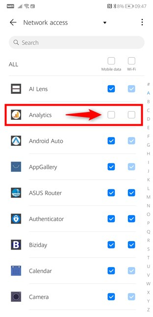 Android Settings - block apps from accessing the internet