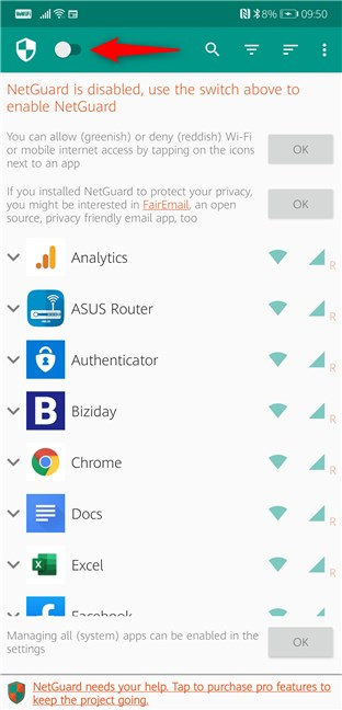 Enable NetGuard on Android