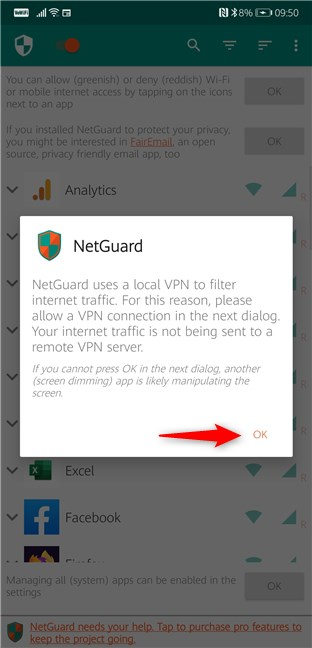 NetGuard uses a local VPN to filter the traffic