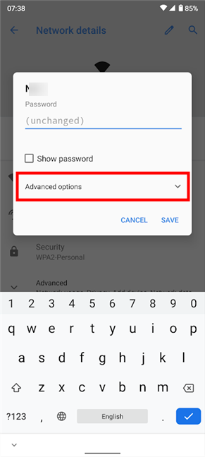 Access Advanced options to set a Wi-Fi proxy server for Android