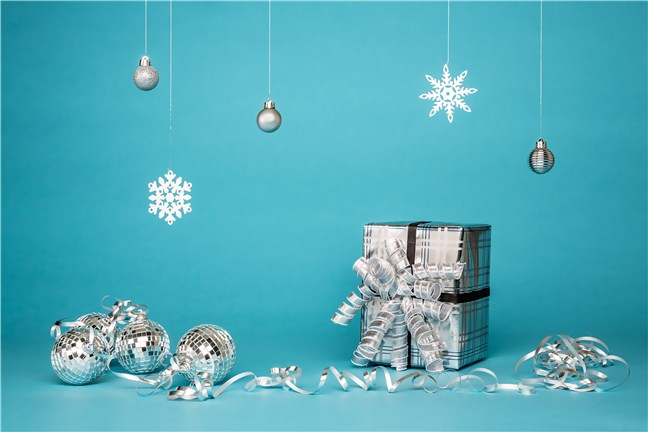 Gift Box with Grey Baubles by Amy Texter
