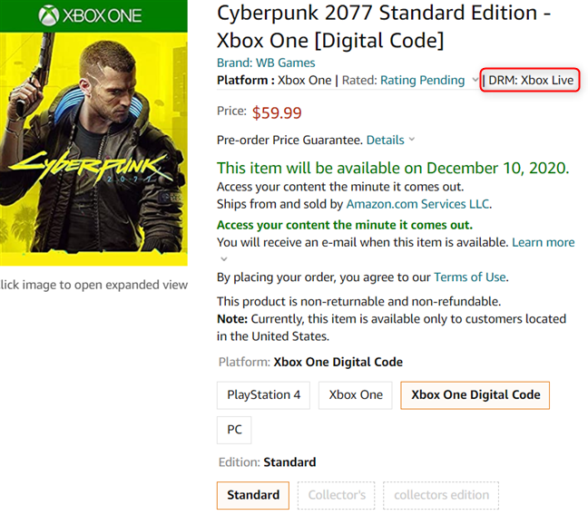 Cyberpunk 2077 is available on Amazon as a digital code for Xbox