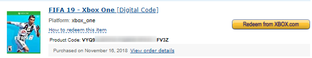 Digital Product Code for an Xbox game, on Amazon