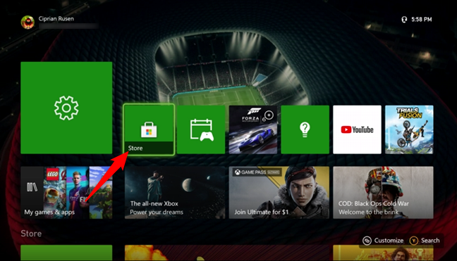 Open the Store on your Xbox console