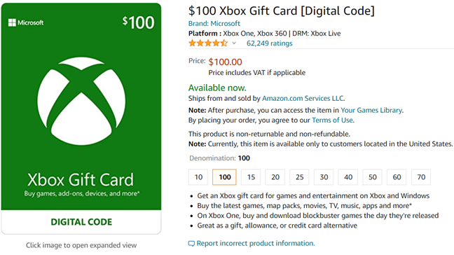 Xbox gift cards available on Amazon