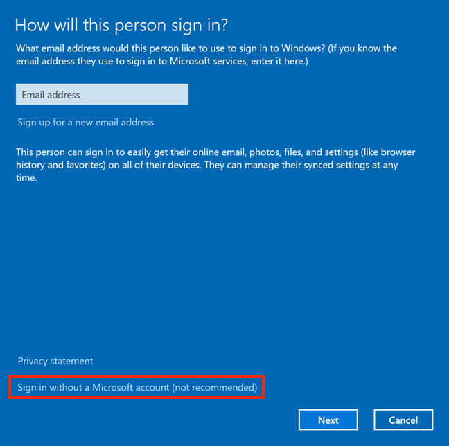 Choose to add a non-Microsoft account