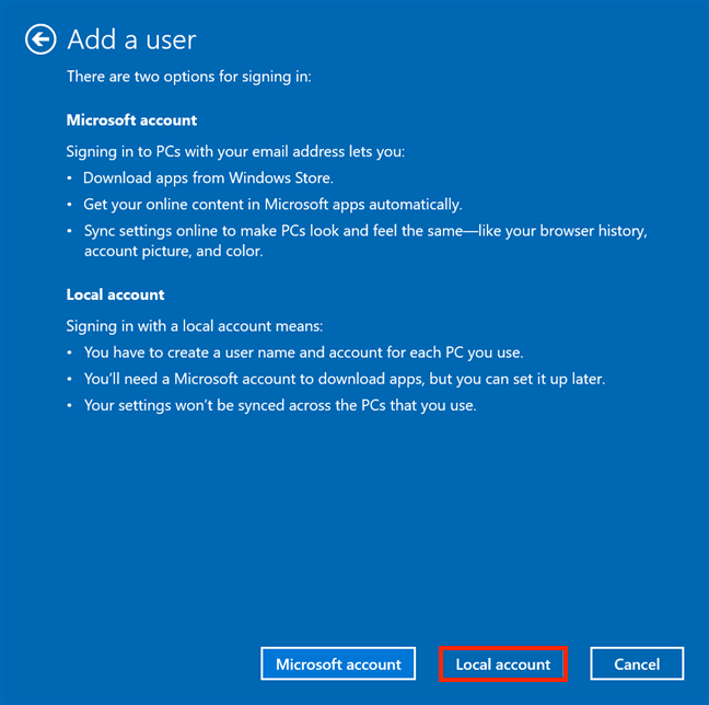 Ignore Microsoft's false info and choose Local account