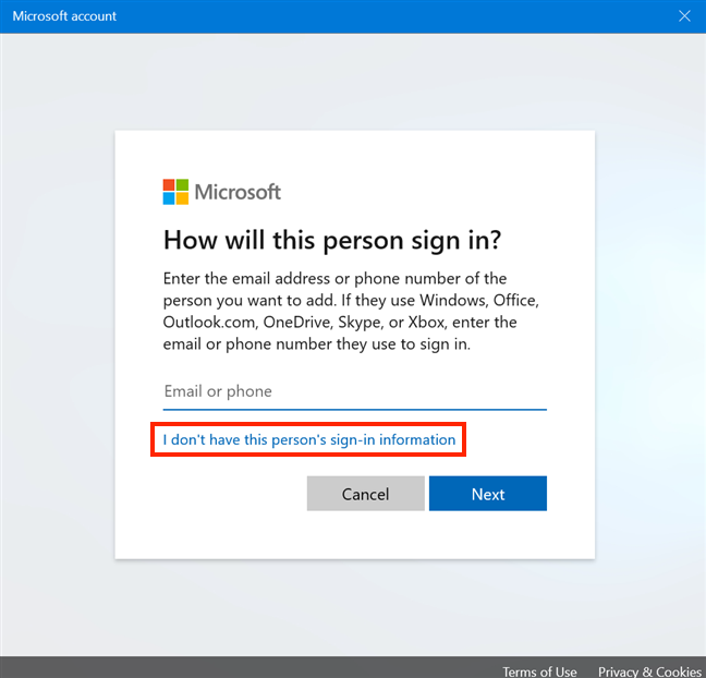 Avoid creating a Microsoft account