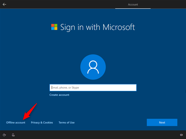 Opting to use an offline account instead of a Microsoft account