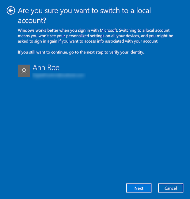 Switching to a local account in Windows 10