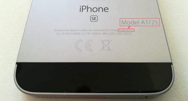 The Model Number etched on the back of an older iPhone SE