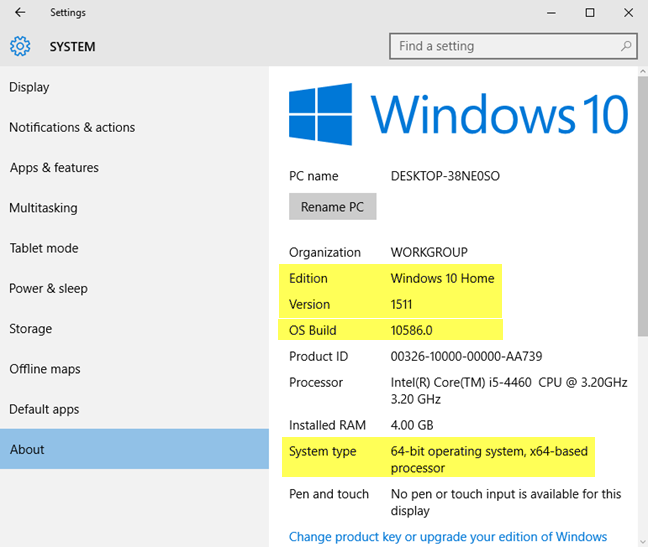 The Windows 10 version, OS Build, edition, and type