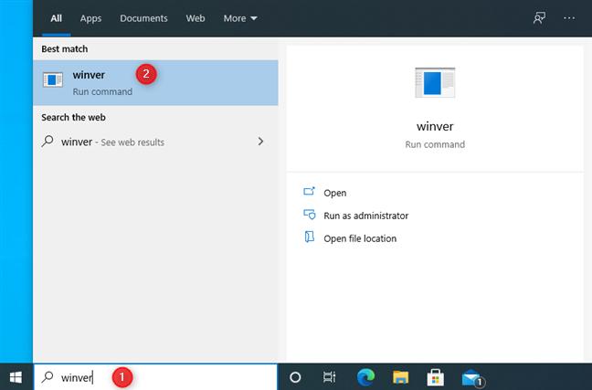 Search for winver in Windows 10