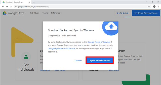Download Google Drive's Backup and Sync for Windows