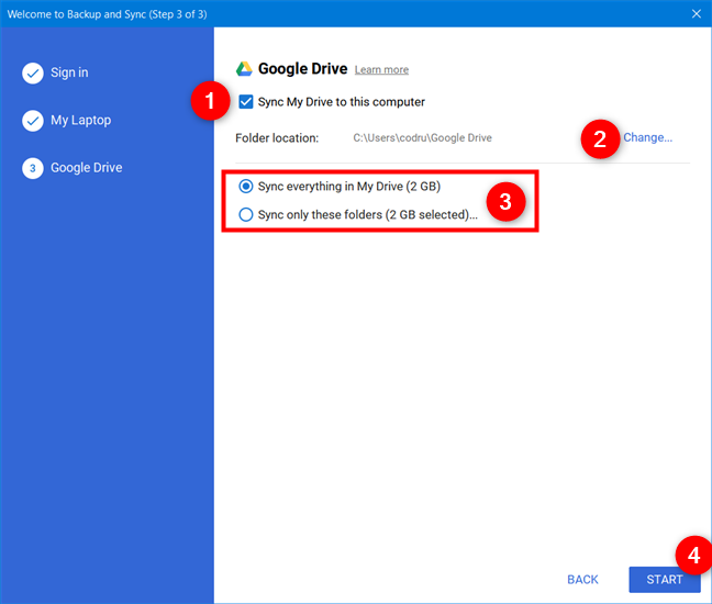 Choosing to sync Google Drive to your computer