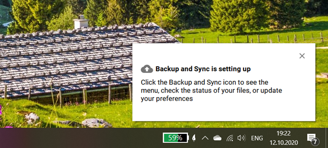Backup and Sync is setting up
