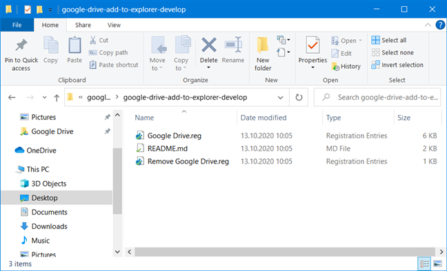The Google Drive registry files