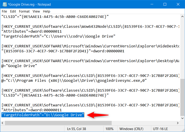 Replace the TargetFolderPath values with the path to your custom Google Drive folder location