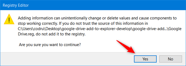 Approve the installation of the new registry file